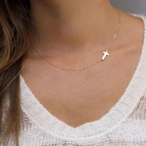 Dainty Golden Cross Chain Necklace